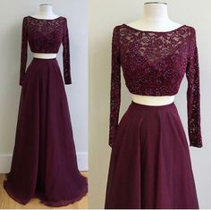 Lace Top Two Pieces Prom Dresses,Long Sleeves Grape