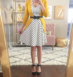Polka dot dress and mustard cardigan selfie