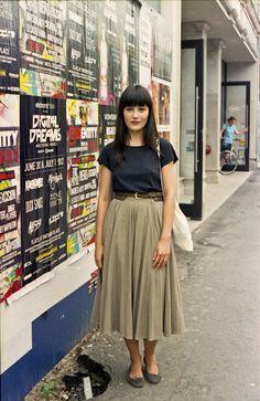 short sleeves + long skirt w/ belt + flats (substitute plaid skirt)