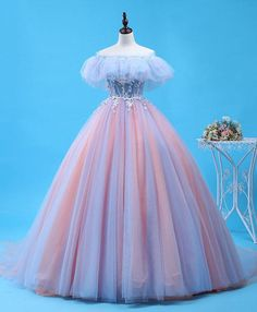 Pink tulle lace long prom gown, evening dress Mend My Dress Quinceanera Dresses, Prom Dresses, Wedding Dresses, 1950s Dresses, Pink Ball Dresses, Sparkly Dresses, Tight Dresses, Sexy Dresses, Vintage Dresses