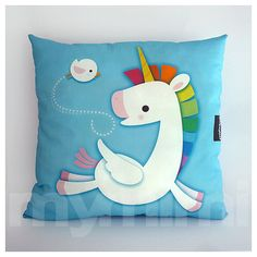 "12 x 12"" Toy Pillow, Decorative Pillow, Rainbow, Unicorn Pillow, Pegasus, Cotton Pillow, Throw Pillow, Girls Room Decor, Nursery Pillow"