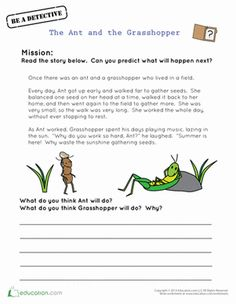 The Ant and the Grasshopper is a fable that teaches kids the value of hard work. Kids will focus on comprehension and predictions in this worksheet.