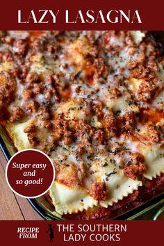 Italian Dishes, Italian Recipes, Beef Recipes, Cooking Recipes, Italian Entrees, Lasagna Recipes, Pasta Recipes, Recipies, Easy Dinner Recipes