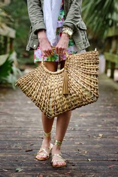 Floral romper, Straw beach bag