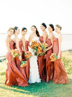 Long burnt orange bridesmaid dresses | fabmood.com