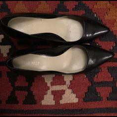 Nine West Black Pumps Black leather pointy toe pumps from Nine West. Used 3 times and in great condition. Leather upper, rubber sole, leather covered heel. Nine West Shoes Heels