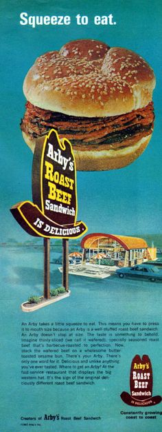 Arby's - 1967 Old Advertisements, Retro Advertising, Retro Ads, School Advertising, Vintage Restaurant, Fast Food Restaurant, Restaurant Signs, Vintage Signs, Vintage Ads