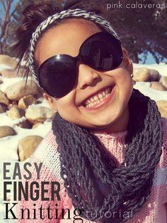 pink calaveras: crazy for finger knitting
