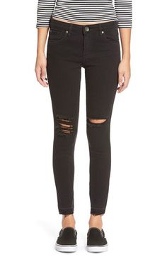 STS Blue STSBlue 'Emma' Distressed High Rise Ankle Skinny Jeans (Black) available at #Nordstrom