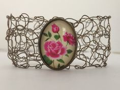 """7"""" Handmade Bronze Wire Bracelet Rose Cabachon Ladies Womens Girl Jewelry Gift For Her"""