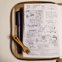 2014-12-31  今年の日記は今年の内にの日。紅白にツッコミ入れながらだったので長くかかったよ(笑) 今年は年越し蕎麦ではなく年越しドンペリで♫←手巻き寿司食べ過ぎて蕎麦食べられない(笑)       #hobonichi #ほぼ日手帳 #絵日記倶楽部 #ほぼ日 #手帳 #絵日記 #日記 #手帳ゆる友  #Japan #Nagoya