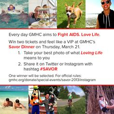 Fun instagram contest for 2 VIP tickets to GMHC's upcoming SAVOR dinner.  Celebrity Chefs and Hosted by Academy Award Winner, Cynthia Nixon    click here for the rules to enter:  http://gmhc.org/donate/special-events/savor-2013/instagram