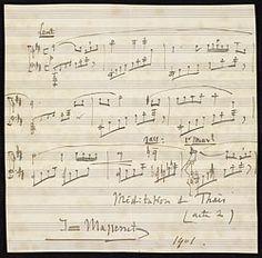 Massenet, Jules, 1842-1912. Thaïs. Méditation (Album leaf) . Méditation from Thaïs (album leaf) : autograph manuscript, 1901