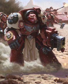 Blood Ravens Terminators by Phuong Pham Ngoc. Warhammer Paint, Warhammer 40k Art, Warhammer Fantasy, Dark Fantasy, Fantasy Art, Warhammer 40k Blood Angels, Space Wolves, Game Workshop, Space Marine