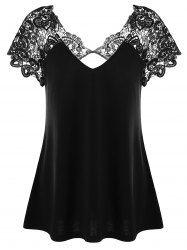 Plus Size Cutwork Lace Trim T-Shirt Mobile