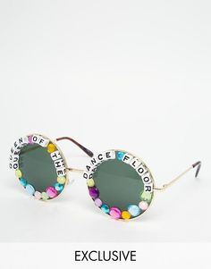 Order Rad + Refined Queen of The Dance Floor Round Sunglasses online today at ASOS for fast delivery, multiple payment options and hassle-free returns (Ts&Cs apply). Get the latest trends with ASOS. Festival Sunglasses, Cute Sunglasses, Round Sunglasses, Sunnies, Quirky Fashion, Diy Fashion, Fashion Online, Karneval Diy, Kandi Bracelets