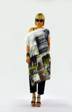 Abstract hand painted silk tunic/Casual Long silk top/Silk