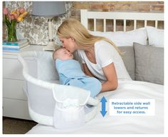 The new Halo Bassinest Swivel Sleeper is an infant bed that helps prevent Sudden Infant Death Syndrome (SIDS). The bassinet moves to allow baby to sleep as close as mom wants - closer than with any other bassinet, even right next to her in bed. Yet baby sleeps safely in his own separate sleep area, reducing the risks that are associated with bed sharing. www.kidstodayonli...