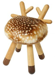 Bambi Children's chair - H 40 cm Natural wood / beige & brown by Elements…