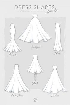 Kleiderformen - Informations About Dress Shapes P - Dress Design Sketches, Fashion Design Sketchbook, Fashion Illustration Sketches, Fashion Design Drawings, Fashion Sketches, Clothing Sketches, Wedding Dress Drawings, Wedding Dress Shapes, Wedding Drawing