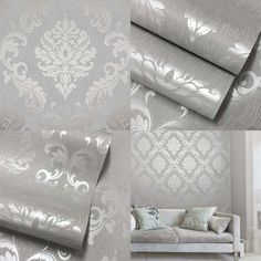Henderson Interiors Chelsea Glitter Damask Wallpaper Soft Grey Silver - H980504 #HendersonInteriors