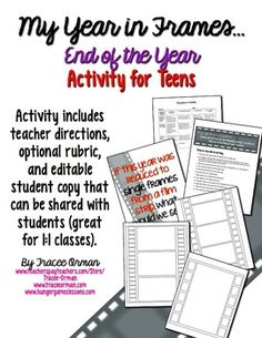End of the Year Activity and Memory Book for Teens - includes a Microsoft Word version that can be shared digitally with students.