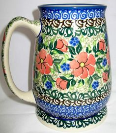 POLISH POTTERY UNIKAT 28OZ. BEER TEA COFFEE TRAVEL MUG STEIN HAND PAINTED RARE