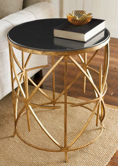 "Granite-Top Side Table. For the ""man cave"", need style there too."