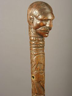 FOLK ART CANE WITH A GENTLEMAN'S HEAD