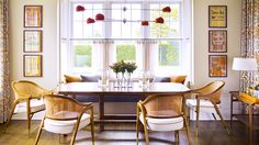 A simple table and a stand out fixture are keys to a great dining room // Dining Rooms