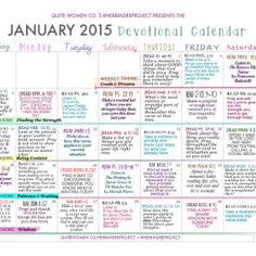 January 2015 Devotional Calendar and Weekly Guides