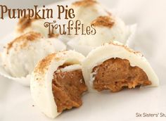 Pumpkin Pie Truffles Recipe - did a test run of these because i'm planning on making them for a thanksgiving dessert and they turned out perfectly. so good and such a nice filling. family loved them :) definately going to still make them for thanksgiving!