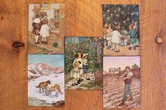 """5 VINTAGE 1920's C.M. CLARA BURD INSERT PRINTS (5"""" X 7"""") MARKED C.M. BURD. IN A VARIETY OF CONDITIONS,"""