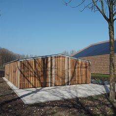 Fietsoverkapping voor Landal. Ideas, Corrugated Metal, Wood Slats, Wall Panelling, Thoughts