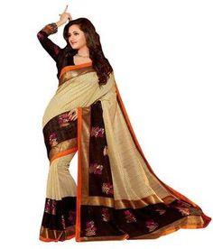 Brown Bhagalpuri Silk Printed Sarees Silk Sarees on Shimply.com
