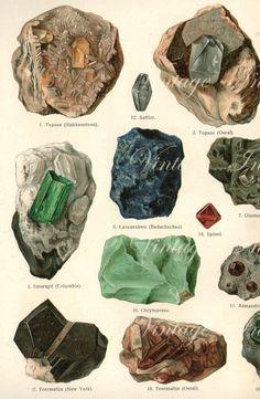 Vintage Print 1890 12 1/4 x 10 LARGE Antique GEMSTONES Chart German, vintage 21 minerals precious gem stones illustrations. $55.00, via Etsy.