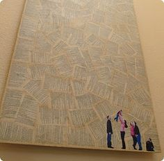 recycled book page wall art family photo