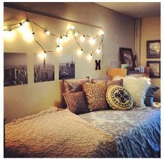 Dorm room. I like the hanging bulbs idea over black and white prints of famous places/ cities