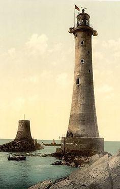 Eddystone Lighthouse Plymouth England New photochrom Nautical Décor Print 1663 | eBay