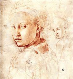 BRONZINO - Testa di Giovane donna - Degli Uffizi - Dipartimento di Stampe e Disegni - Firenze