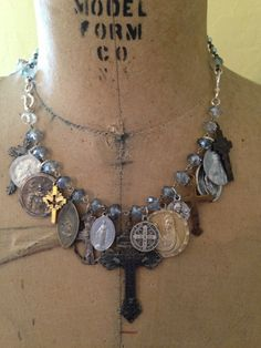 Vintage Religious Medals and a Handbuilt Crystal by GlitterStudio, $65.00