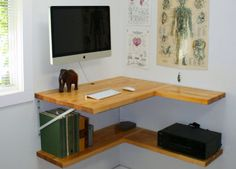 Wall mounted desk idea to keep you organized if you're short on space.