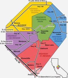 Yosemite Region map for Yosemite Park, Oakhurst, Mariposa, Groveland, Mammoth Lakes