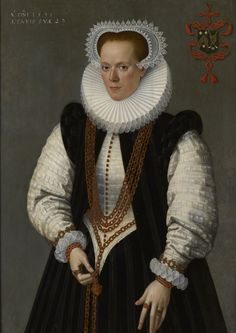 The Weiss Gallery: Frans Pourbus the Younger (1569 – 1622), Marie De Huelstre, Oil on panel, 101.5 x 72.8 cm, Inscribed with an armorial of the van Vyve and De Huelstre family upper right, and upper left: ANNO.DNI.1591'/'AETATIS SUAE. 23.