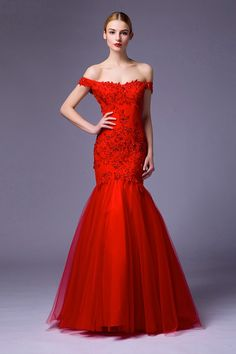 2017 Sexy Red Off The Shoulder Lace Bottom Tulle Mermaid Evening Dress 84d5398639d3