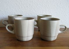 Vintage Heath Ceramics 'Stack' Mugs in Birch Two Tone Glaze-Set of 4 by MarketHome on Etsy