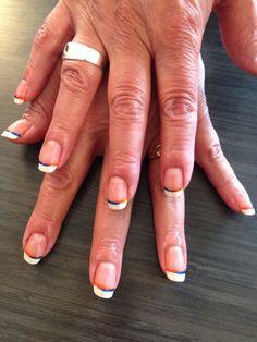 Subtle & beautiful Bronco Nails! #bronconails #orange #blue Broncos Nails, Orange, Blue, Beautiful