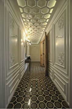 """pinner says, """"great effect... ceiling pattern mirroring the floor...stunning"""" I agree! It's a beautiful hallway"""