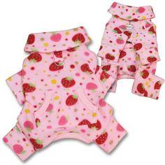 Klippo Pet Yummy Strawberries Fleece Turtleneck Dog Pajamas / Bodysuit