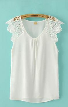 V-neck Lace Splicing Chiffon Sleeveless Blouse